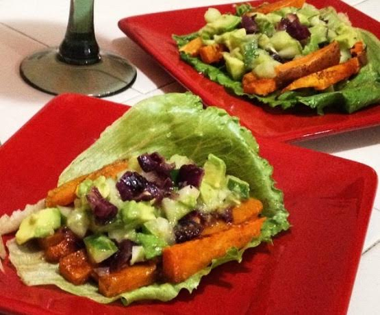 Sweet Potato Tacos with Avocado and Cucumber Salsa - Nutritional ...